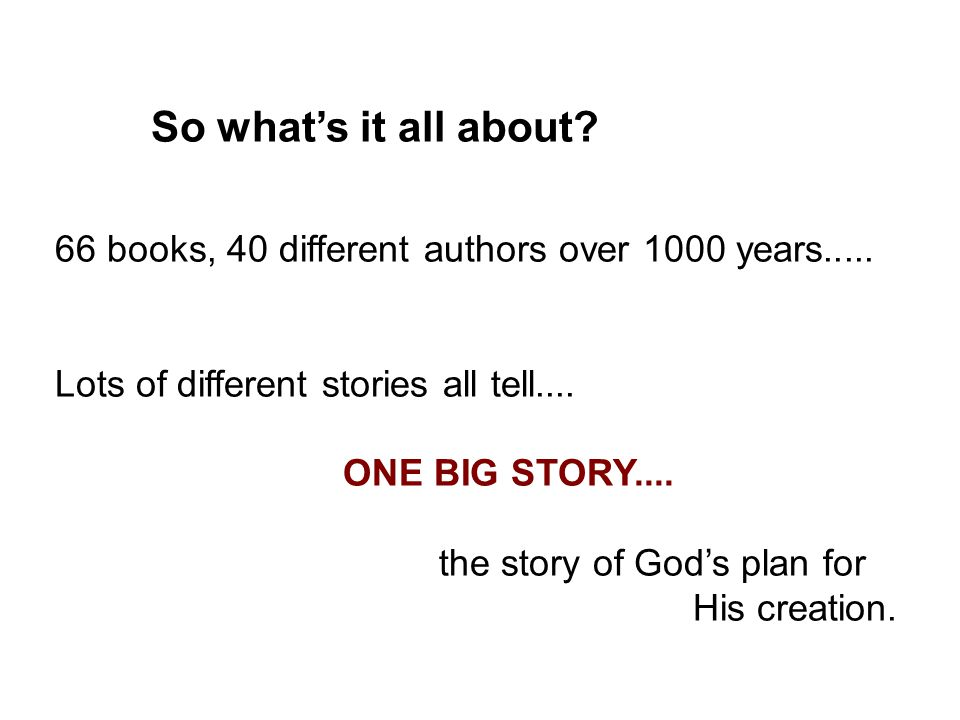 So what's it all about? 66 books, 40 different authors over 1000 years..... Lots of different stories all tell.... ONE BIG STORY.... the story of God'