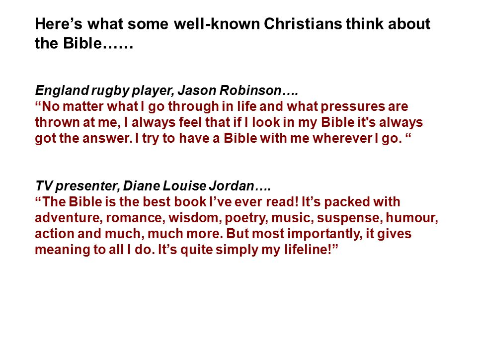 """Here's what some well-known Christians think about the Bible…… England rugby player, Jason Robinson…. """"No matter what I go through in life and what pr"""