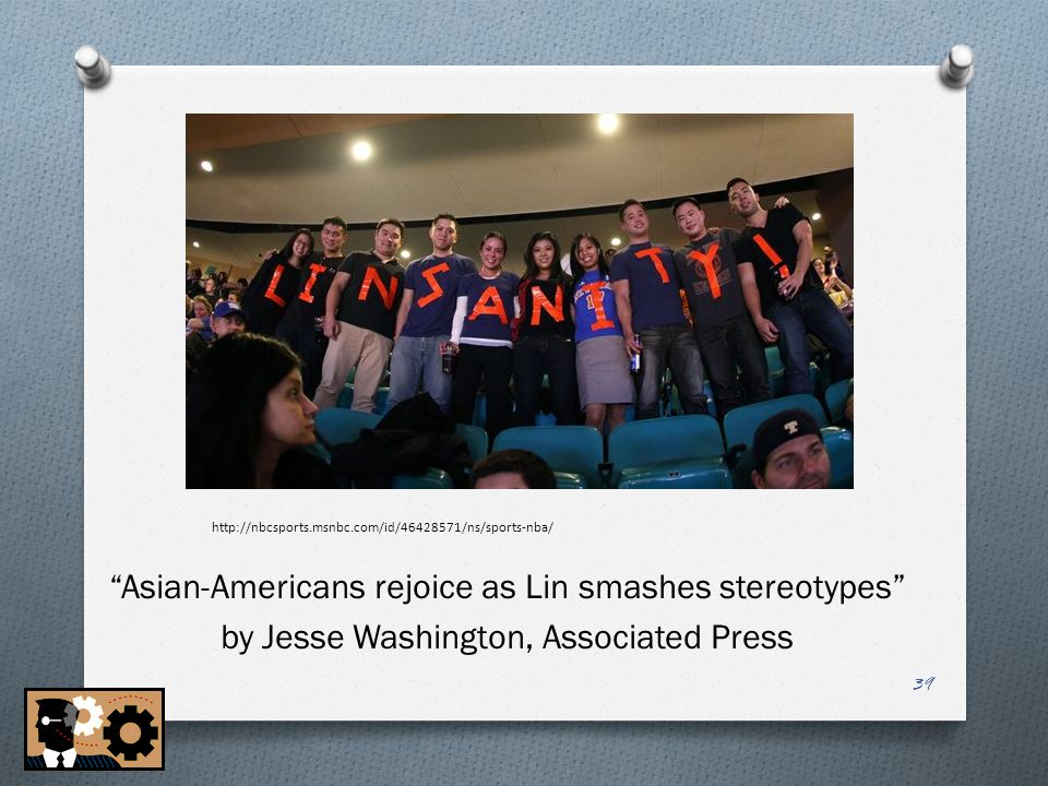 """Asian-Americans rejoice as Lin smashes stereotypes """"Asian-Americans rejoice as Lin smashes stereotypes"""" by Jesse Washington, Associated Press http://n"""