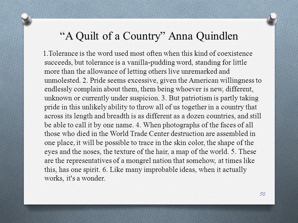 """""""A Quilt of a Country"""" Anna Quindlen 1.Tolerance is the word used most often when this kind of coexistence succeeds, but tolerance is a vanilla-puddin"""