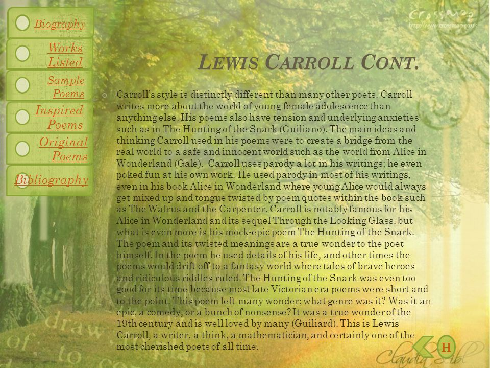 L EWIS C ARROLL C ONT. Carroll's style is distinctly different than many other poets.