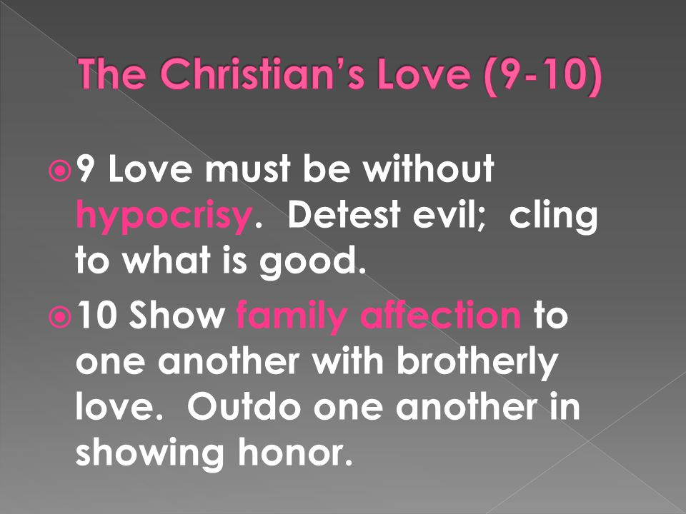  9 Love must be without hypocrisy. Detest evil; cling to what is good.