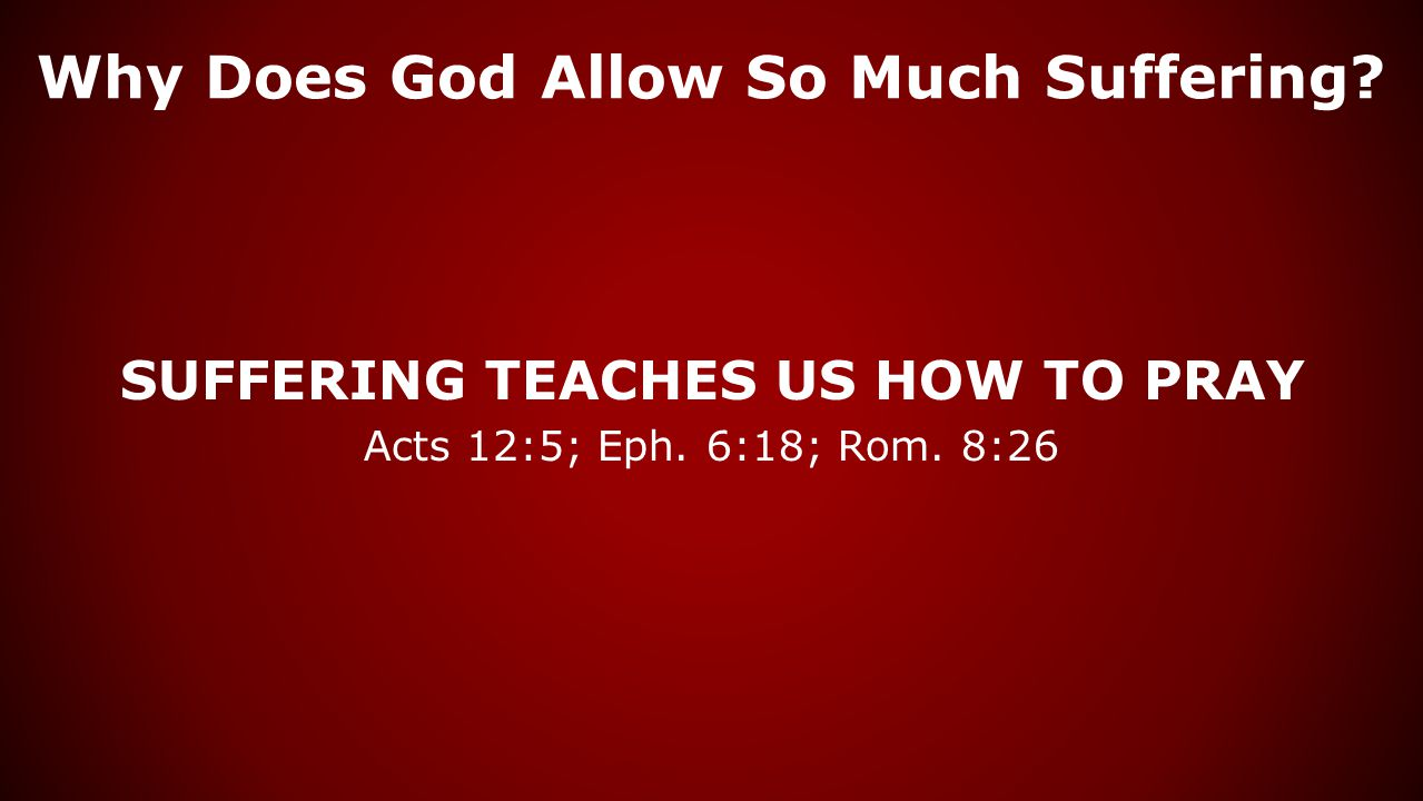Why Does God Allow So Much Suffering? SUFFERING TEACHES US HOW TO PRAY Acts 12:5; Eph. 6:18; Rom. 8:26