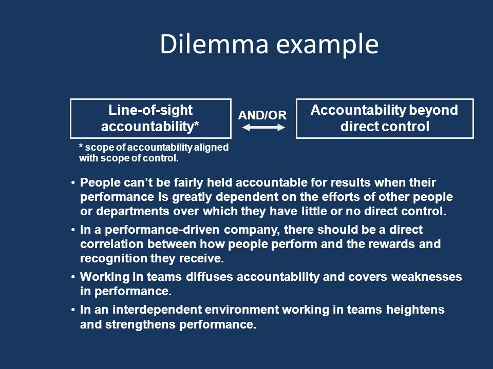 Dilemma example Accountability beyond direct control Line-of-sight accountability* AND/OR People can't be fairly held accountable for results when their performance is greatly dependent on the efforts of other people or departments over which they have little or no direct control.