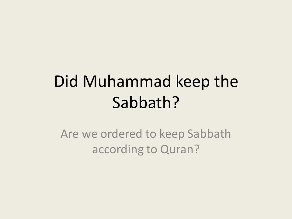 Where does the Sabbath come from.