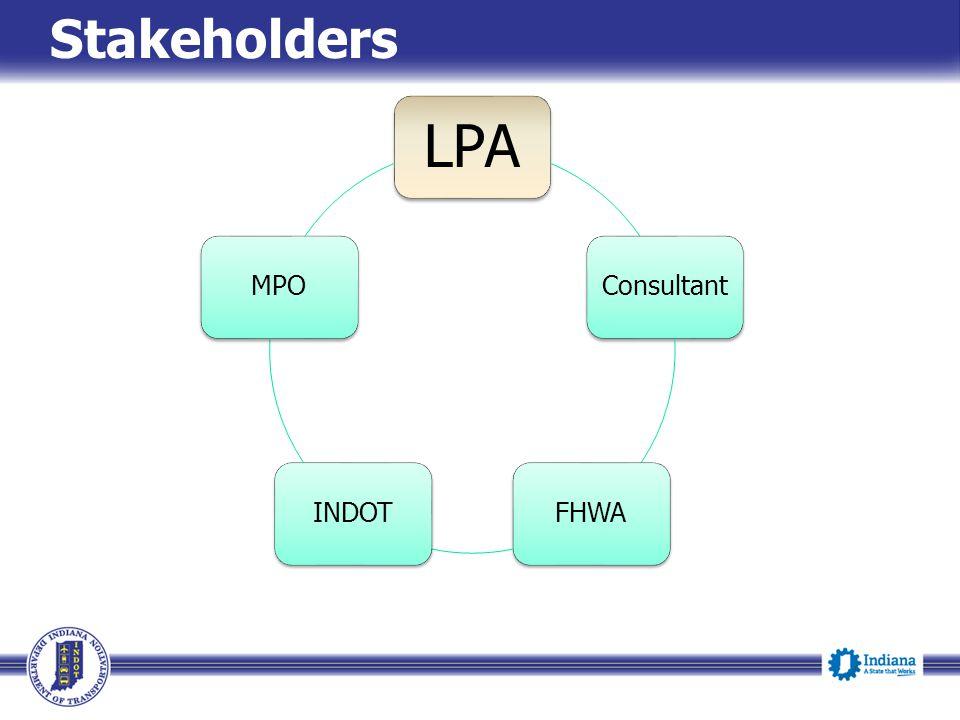 Stakeholders LPA ConsultantFHWAINDOTMPO