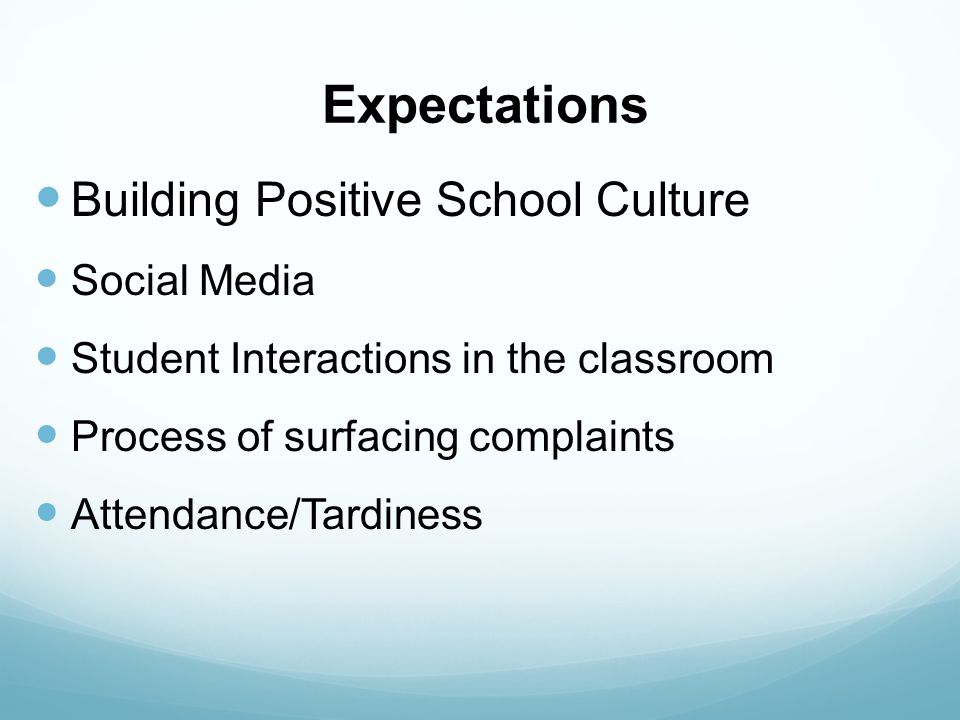 Expectations Building Positive School Culture Social Media Student Interactions in the classroom Process of surfacing complaints Attendance/Tardiness