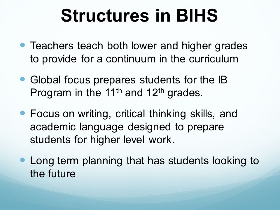 Why the International Baccalaureate (IB) at BIHS.