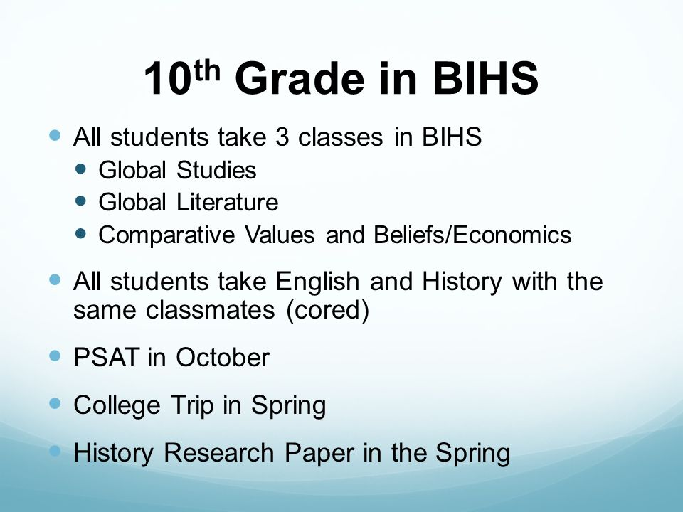 11 th Grade in BIHS All students take two IB classes IB English HL IB History of the Americas HL/Theory of Knowledge All students participate in: Experiential Learning (CAS) Extended Essay (EE) Take SAT/ACT Meet with College Counselors in the Spring College Fair, May 4 th, 2015 Build relationships with teachers and counselors in preparation for college application process and letters of recommendation.