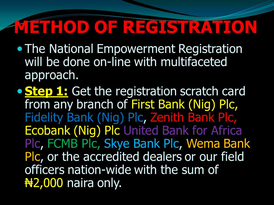 METHOD OF REGISTRATION The National Empowerment Registration will be done on-line with multifaceted approach.