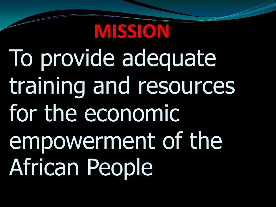 MISSION To provide adequate training and resources for the economic empowerment of the African People