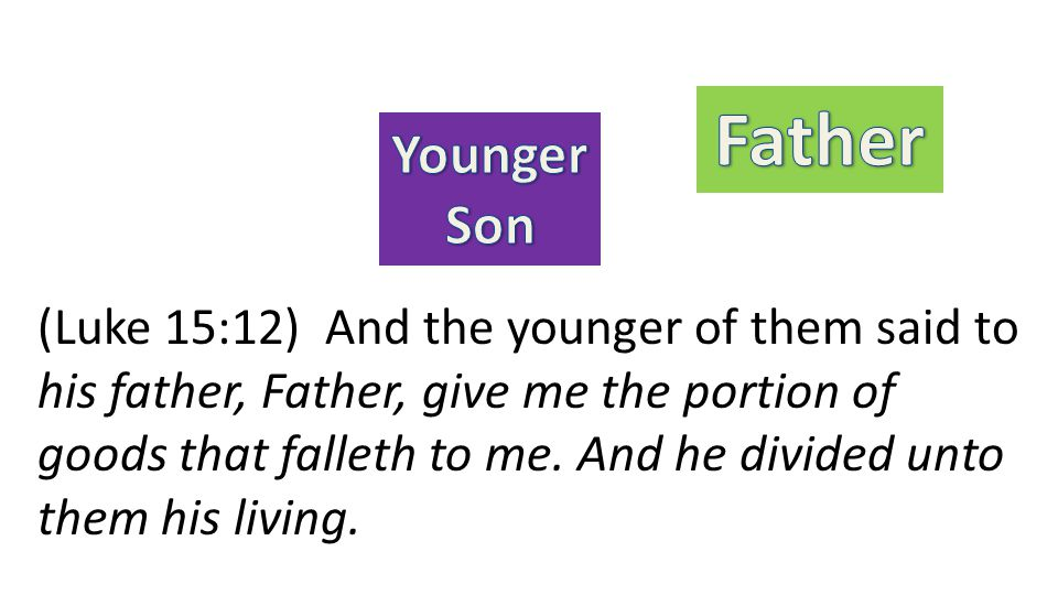 (Luke 15:12) And the younger of them said to his father, Father, give me the portion of goods that falleth to me. And he divided unto them his living.