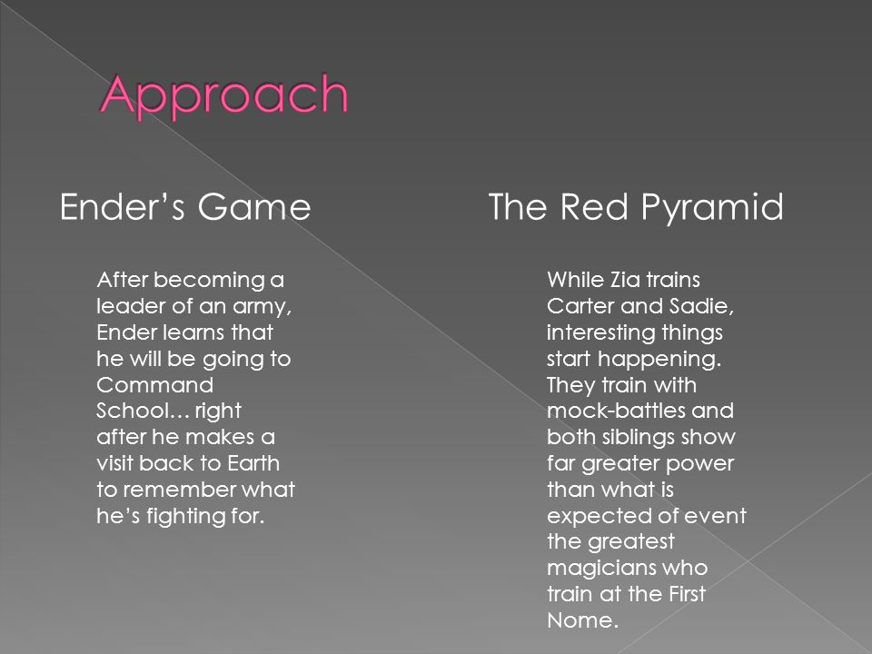 Ender's GameThe Red Pyramid While Zia trains Carter and Sadie, interesting things start happening.