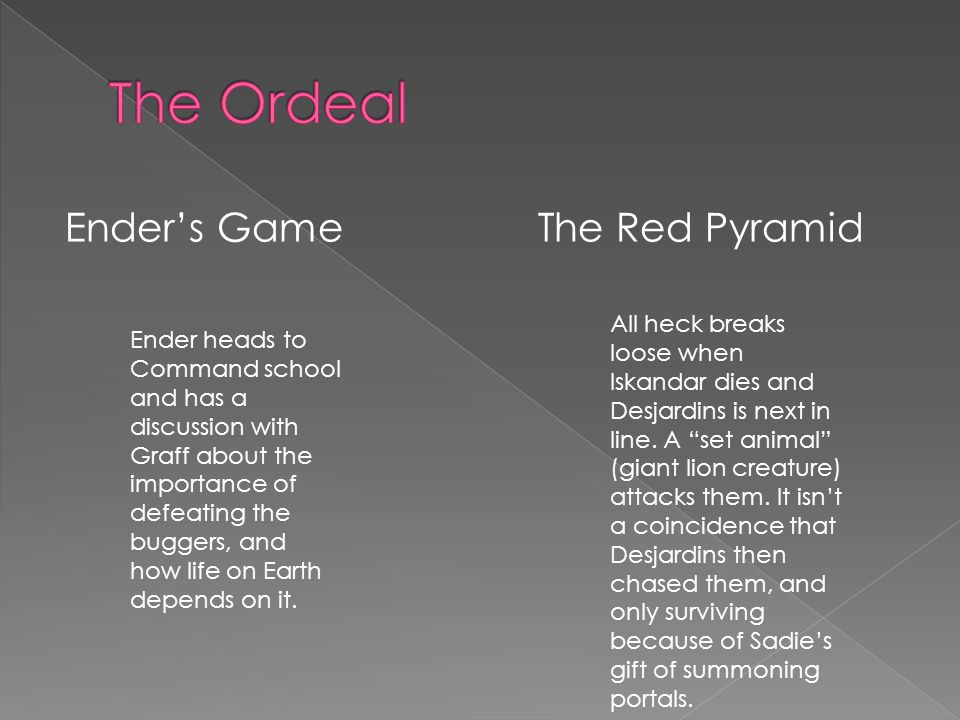 Ender's GameThe Red Pyramid All heck breaks loose when Iskandar dies and Desjardins is next in line.