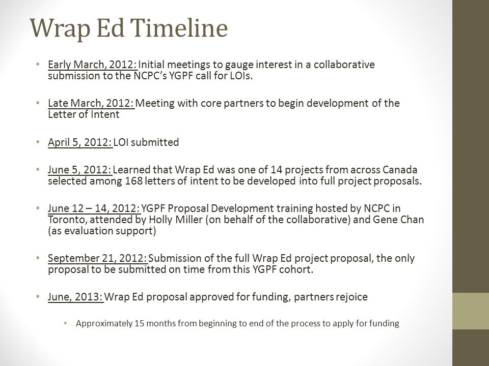 Wrap Ed Timeline Early March, 2012: Initial meetings to gauge interest in a collaborative submission to the NCPC's YGPF call for LOIs. Late March, 201