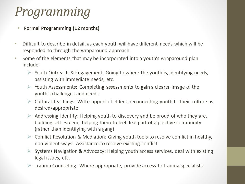 Programming Formal Programming (12 months) Difficult to describe in detail, as each youth will have different needs which will be responded to through