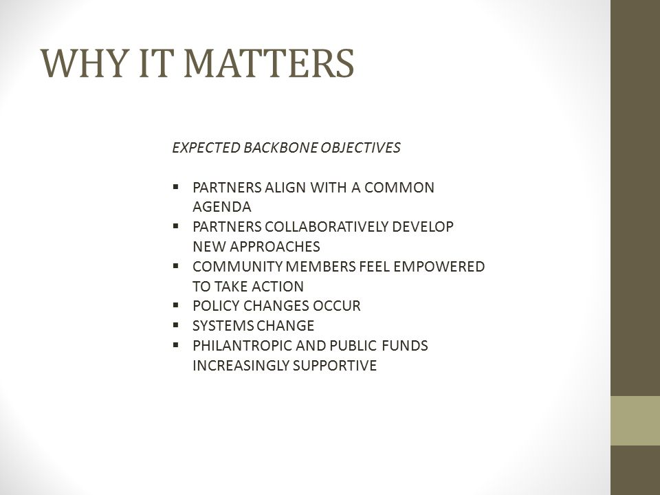 WHY IT MATTERS EXPECTED BACKBONE OBJECTIVES  PARTNERS ALIGN WITH A COMMON AGENDA  PARTNERS COLLABORATIVELY DEVELOP NEW APPROACHES  COMMUNITY MEMBER
