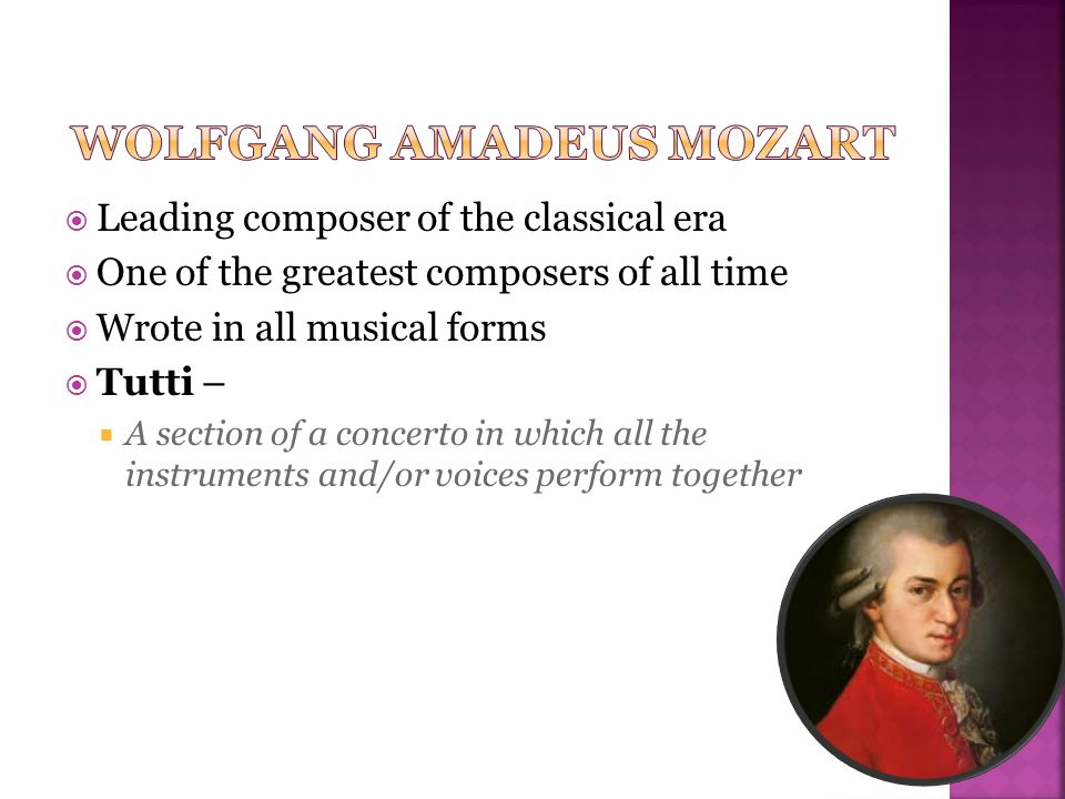  Both used fast-slow-fast  Mozart's called for a larger orchestra  Mozart added woodwinds, trumpets, horns, and timpani  Mozart blended the orchestra more with the solo parts  Instead of short motives, Mozart used fully developed themes  Mozart used more contrast in timbre and dynamics