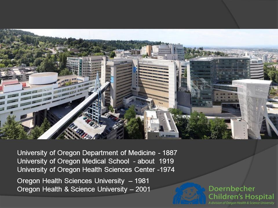 University of Oregon Department of Medicine - 1887 University of Oregon Medical School - about 1919 University of Oregon Health Sciences Center -1974 Oregon Health Sciences University – 1981 Oregon Health & Science University – 2001