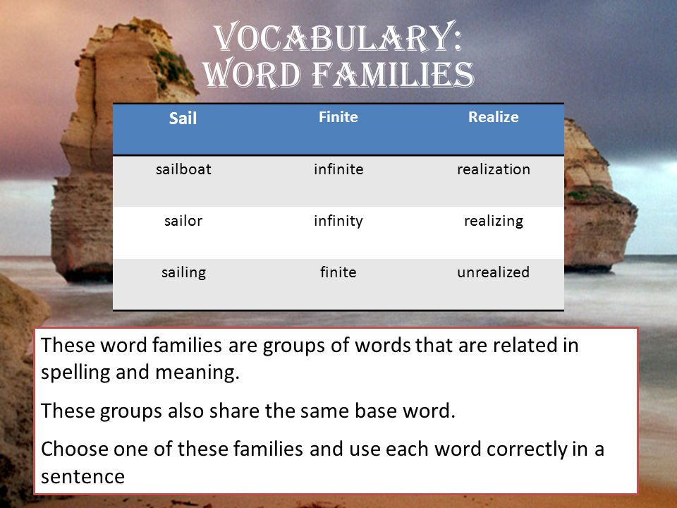 Vocabulary: Word Families These word families are groups of words that are related in spelling and meaning. These groups also share the same base word
