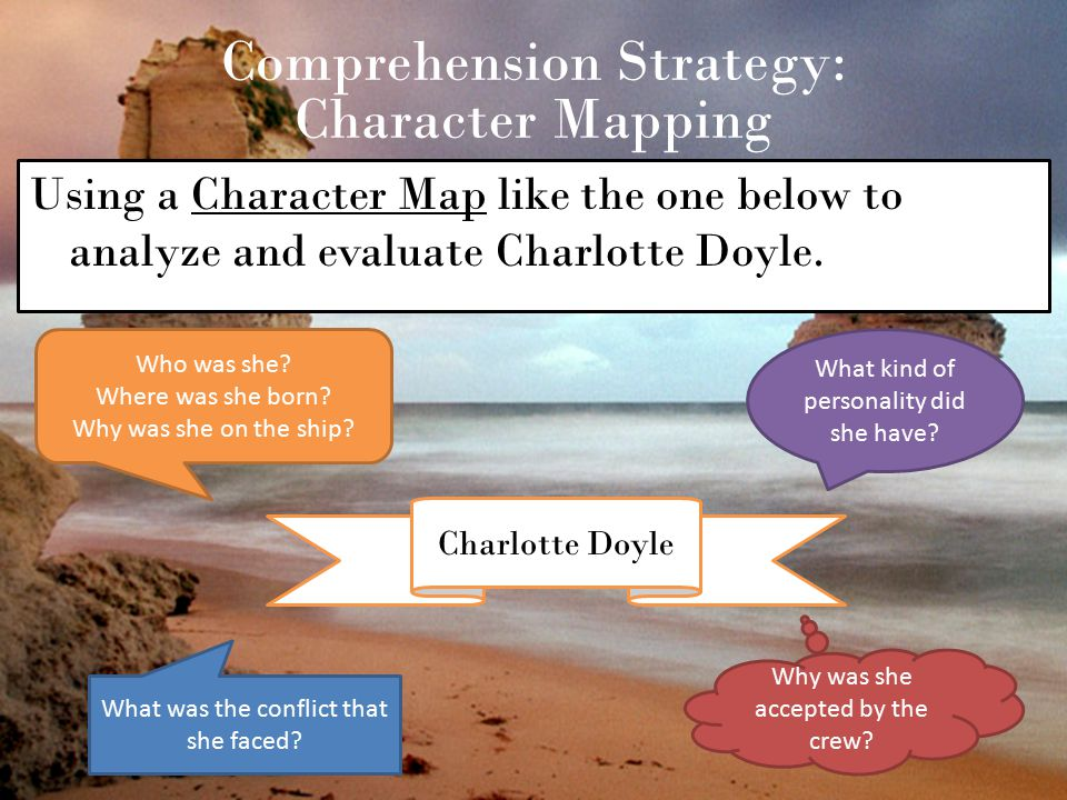 Comprehension Strategy: Character Mapping Using a Character Map like the one below to analyze and evaluate Charlotte Doyle. Charlotte Doyle Who was sh