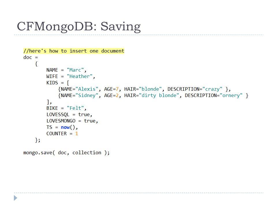 CFMongoDB: Saving