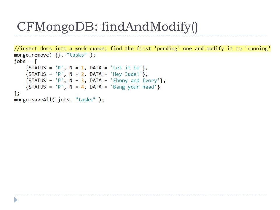 CFMongoDB: findAndModify()
