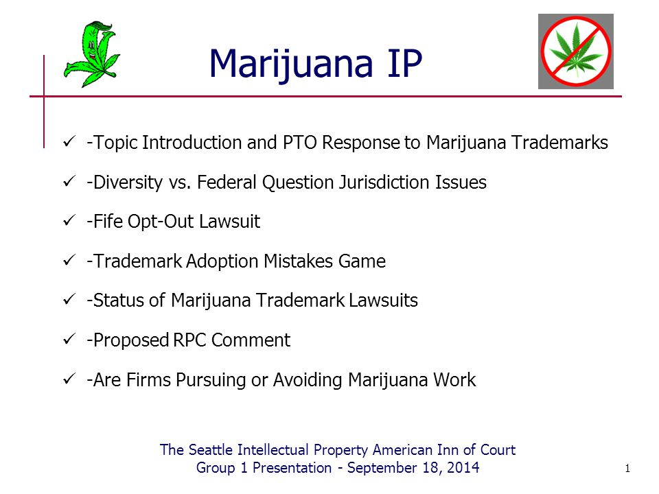 Marijuana IP -Topic Introduction and PTO Response to Marijuana Trademarks -Diversity vs. Federal Question Jurisdiction Issues -Fife Opt-Out Lawsuit -T