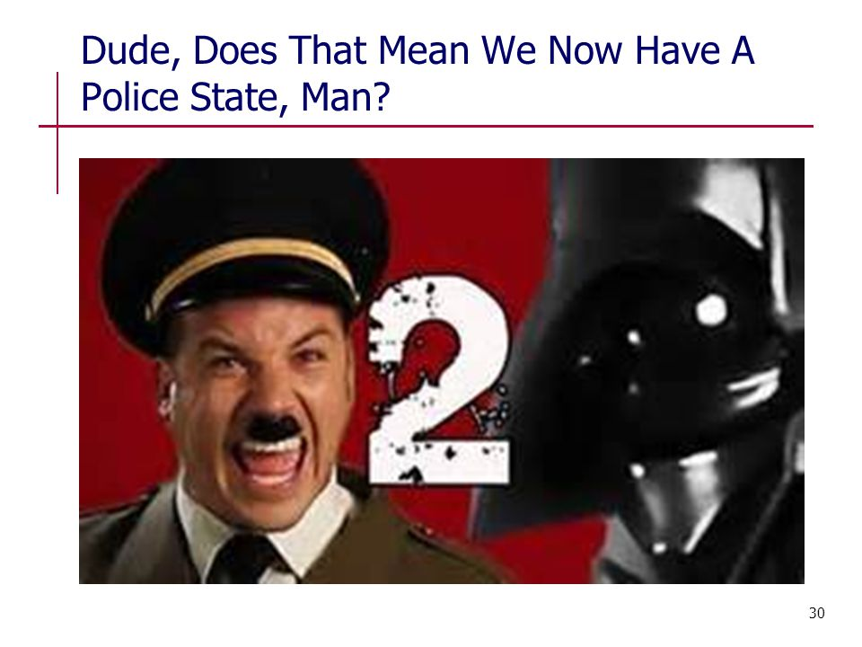Dude, Does That Mean We Now Have A Police State, Man? 30