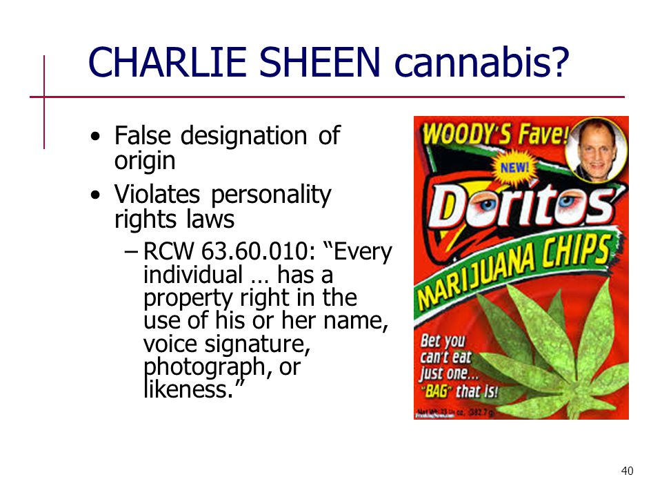 "CHARLIE SHEEN cannabis? False designation of origin Violates personality rights laws −RCW 63.60.010: ""Every individual … has a property right in the u"