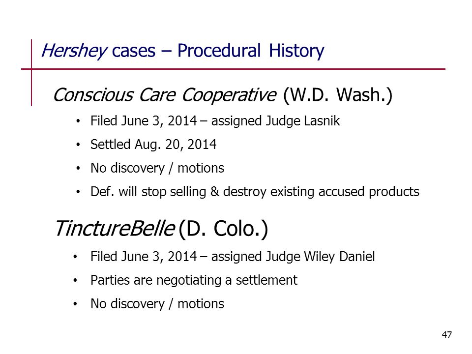 Hershey cases – Procedural History Conscious Care Cooperative (W.D. Wash.) Filed June 3, 2014 – assigned Judge Lasnik Settled Aug. 20, 2014 No discove