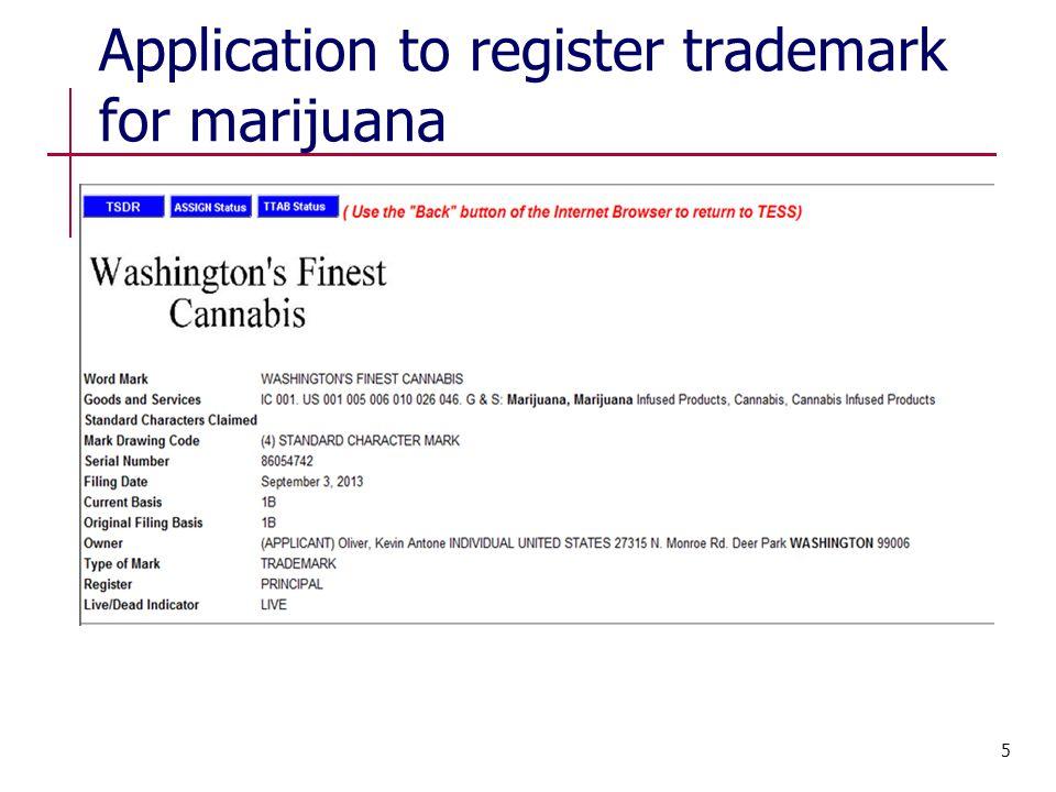 Application to register trademark for marijuana 5