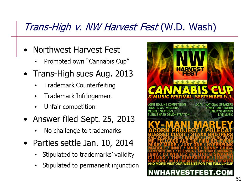 "Northwest Harvest Fest Promoted own ""Cannabis Cup"" Trans-High sues Aug. 2013 Trademark Counterfeiting Trademark Infringement Unfair competition Answer"