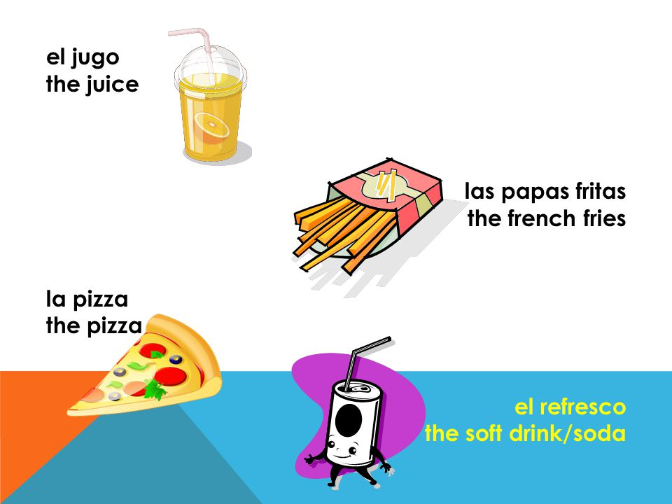 el jugo the juice las papas fritas the french fries la pizza the pizza el refresco the soft drink/soda