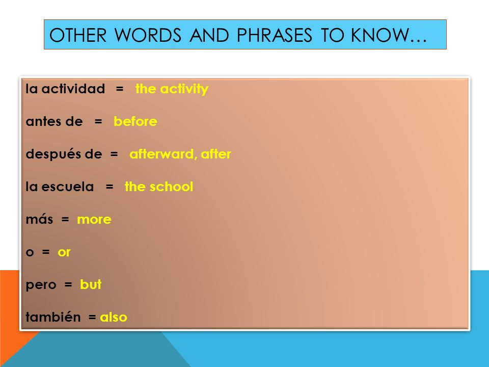 OTHER WORDS AND PHRASES TO KNOW… la actividad = the activity antes de = before después de = afterward, after la escuela = the school más = more o = or pero = but también = also la actividad = the activity antes de = before después de = afterward, after la escuela = the school más = more o = or pero = but también = also