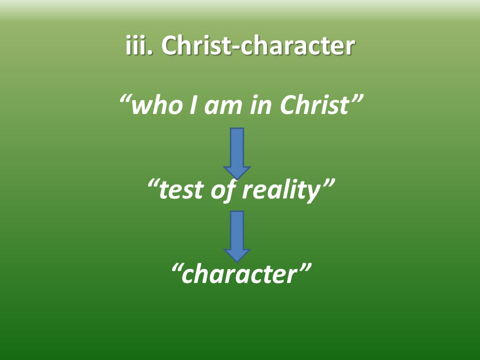 iii. Christ-character who I am in Christ test of reality character