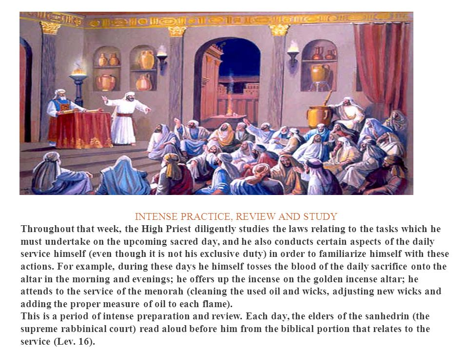 INTENSE PRACTICE, REVIEW AND STUDY Throughout that week, the High Priest diligently studies the laws relating to the tasks which he must undertake on