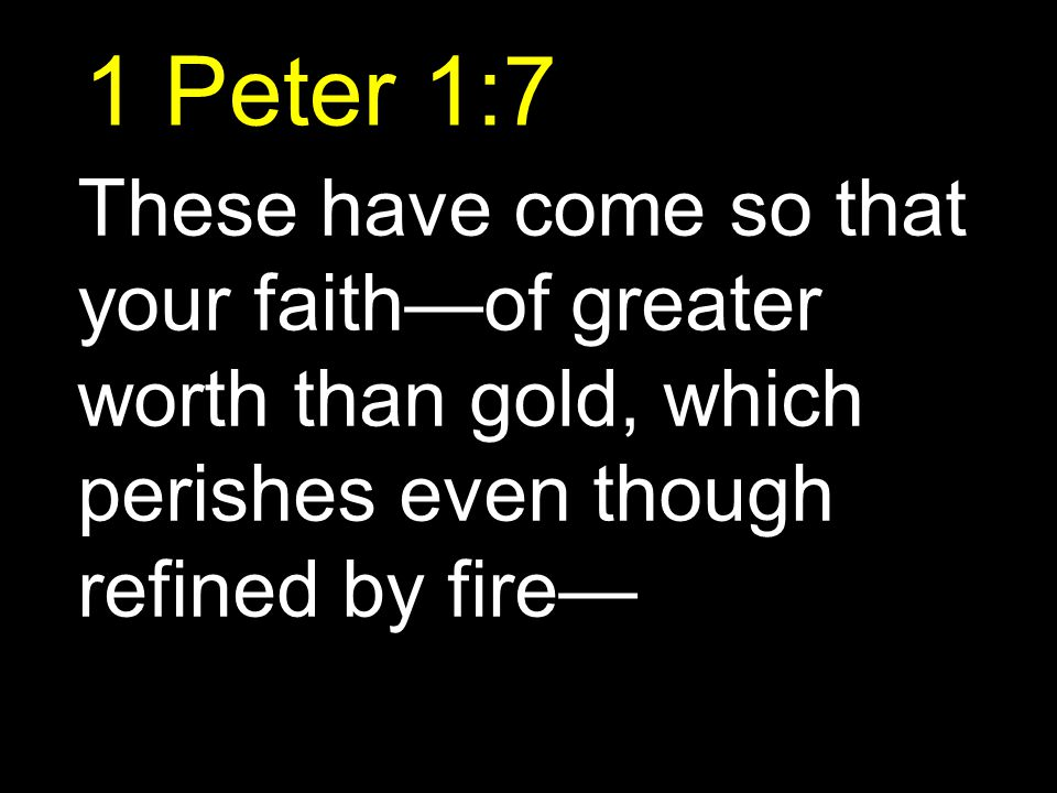 1 Peter 1:7 These have come so that your faith—of greater worth than gold, which perishes even though refined by fire—