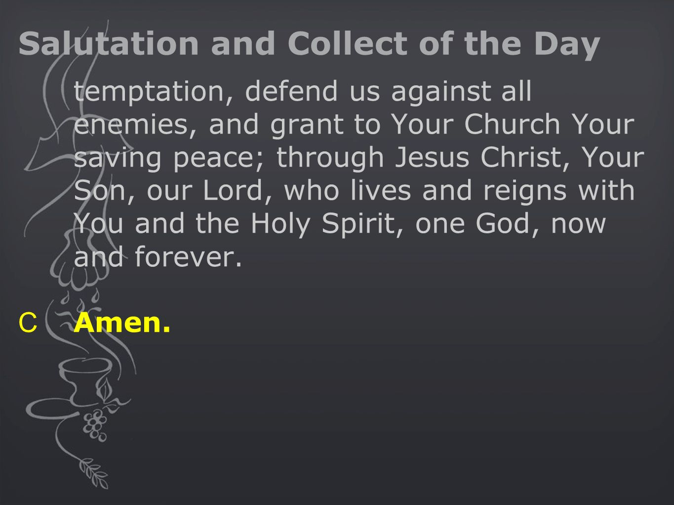 Salutation and Collect of the Day temptation, defend us against all enemies, and grant to Your Church Your saving peace; through Jesus Christ, Your So