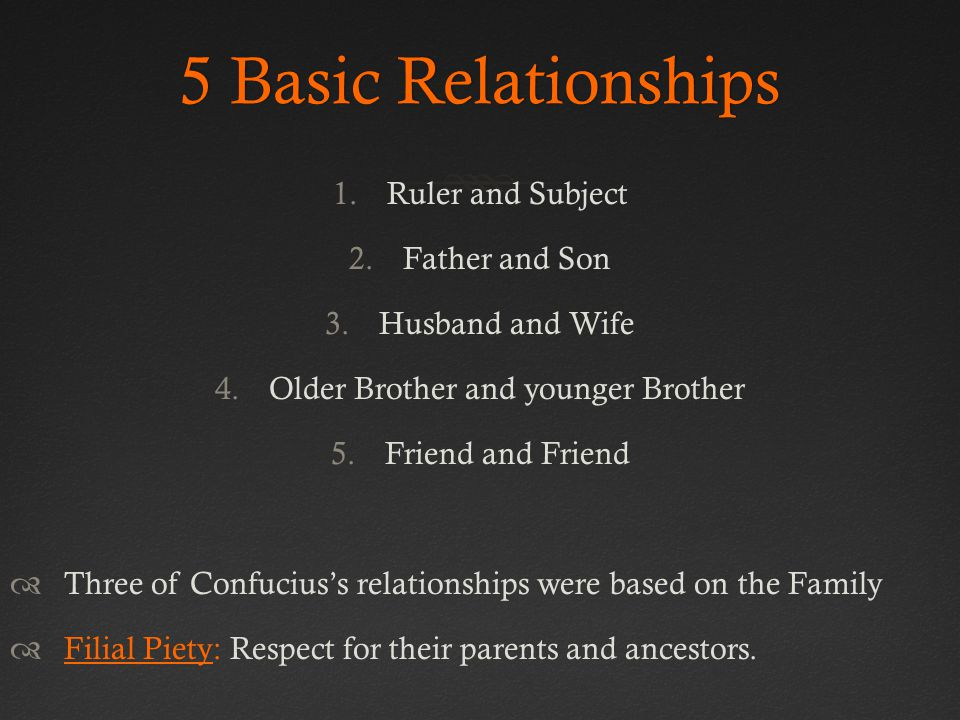 5 Basic Relationships5 Basic Relationships 1.Ruler and Subject 2.Father and Son 3.Husband and Wife 4.Older Brother and younger Brother 5.Friend and Friend  Three of Confucius's relationships were based on the Family  Filial Piety: Respect for their parents and ancestors.