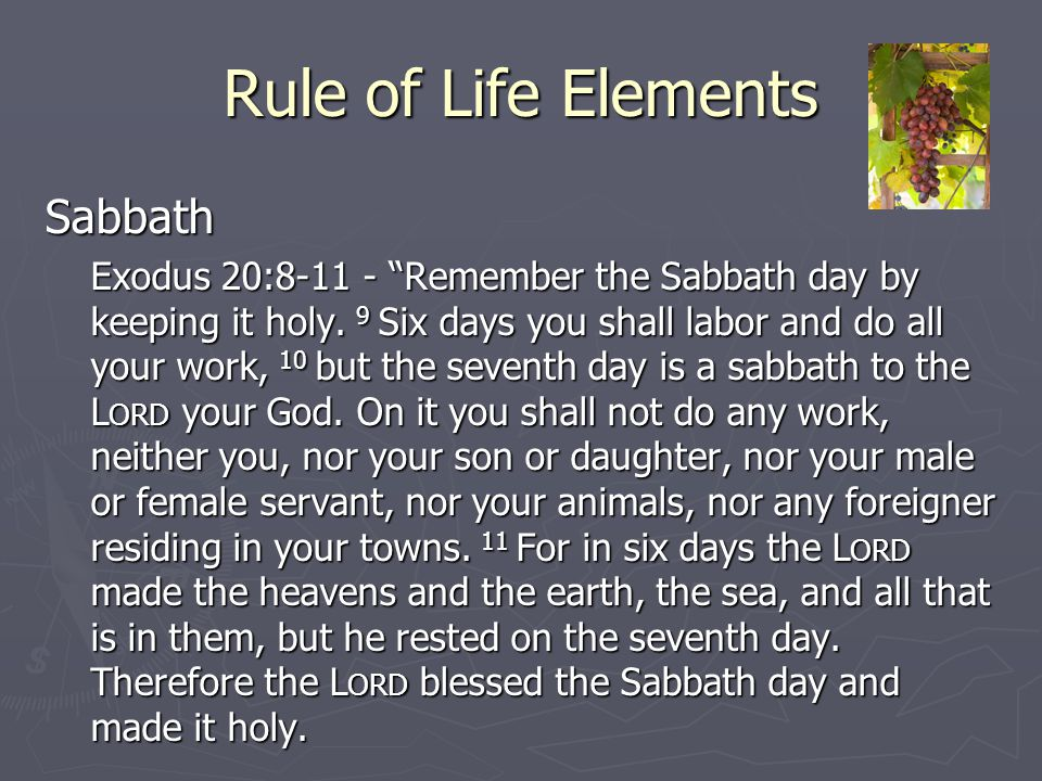 "Rule of Life Elements Sabbath Exodus 20:8-11 - ""Remember the Sabbath day by keeping it holy. 9 Six days you shall labor and do all your work, 10 but t"