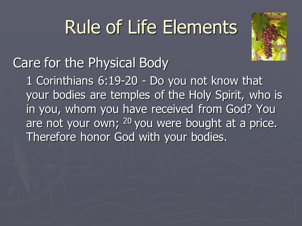 Rule of Life Elements Care for the Physical Body 1 Corinthians 6:19-20 - Do you not know that your bodies are temples of the Holy Spirit, who is in yo