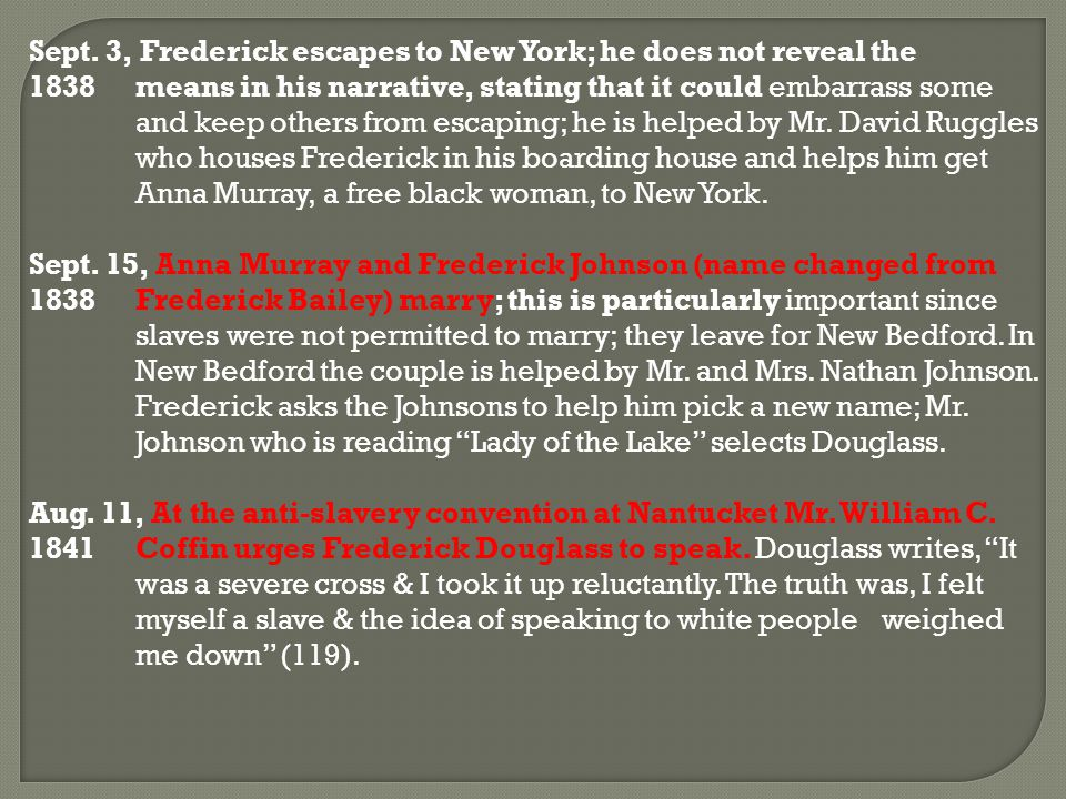 Sept. 3, Frederick escapes to New York; he does not reveal the 1838means in his narrative, stating that it could embarrass some and keep others from e