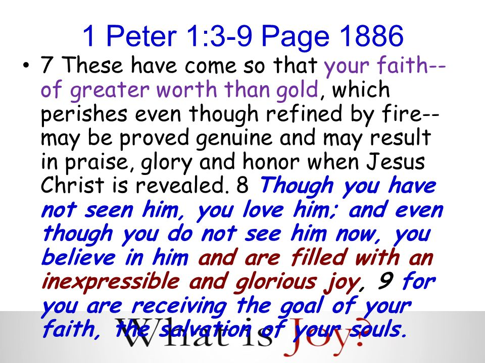 1 Peter 1:3-9 Page 1886 7 These have come so that your faith-- of greater worth than gold, which perishes even though refined by fire-- may be proved genuine and may result in praise, glory and honor when Jesus Christ is revealed.