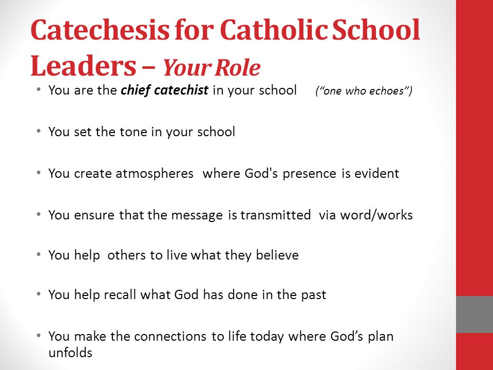 Catechesis for Catholic School Leaders – Your Role You are the chief catechist in your school ( one who echoes ) You set the tone in your school You create atmospheres where God s presence is evident You ensure that the message is transmitted via word/works You help others to live what they believe You help recall what God has done in the past You make the connections to life today where God's plan unfolds