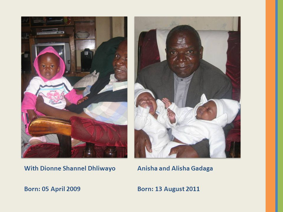 With Dionne Shannel Dhliwayo Born: 05 April 2009 Anisha and Alisha Gadaga Born: 13 August 2011