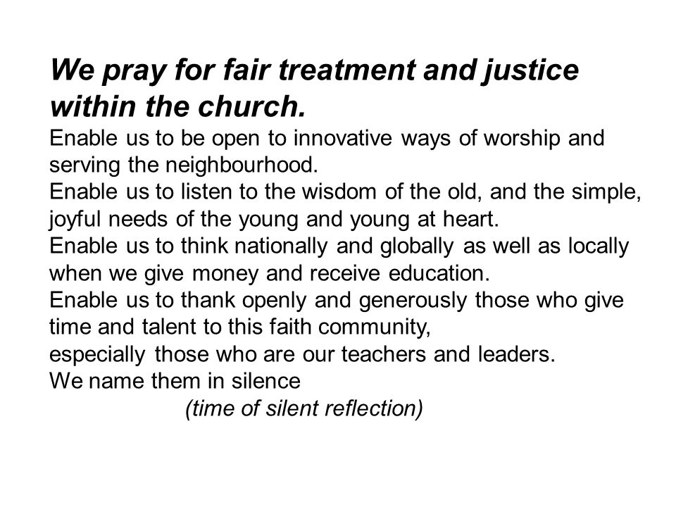 We pray for fair treatment and justice within the church.