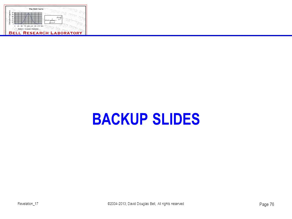 Revelation_17©2004-2013; David Douglas Bell, All rights reserved Page 76 BACKUP SLIDES