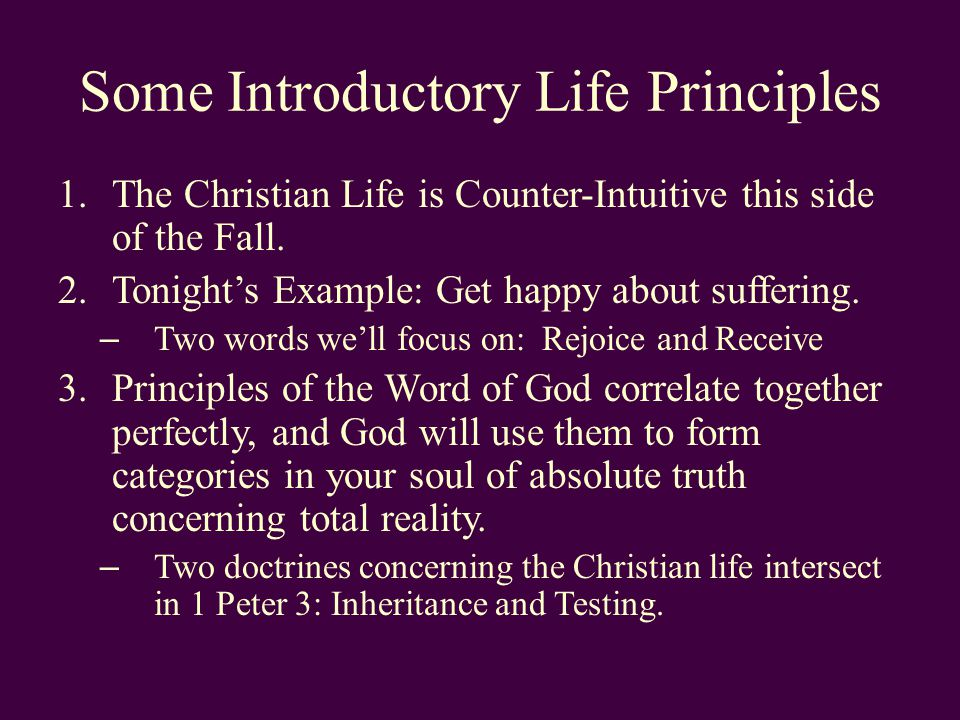Some Introductory Life Principles 1.The Christian Life is Counter-Intuitive this side of the Fall.