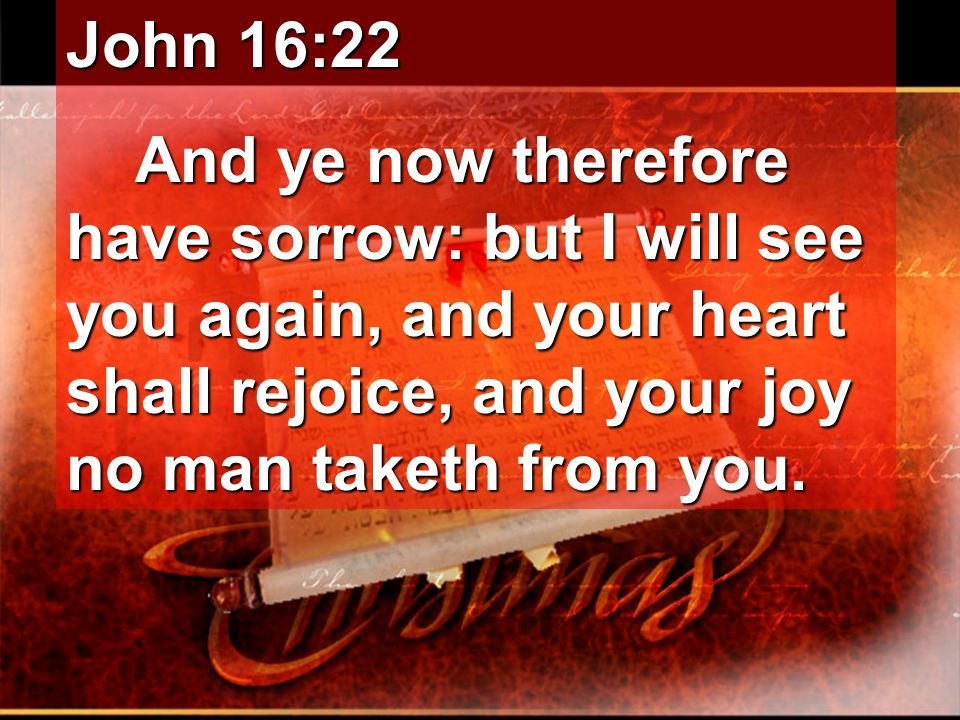 John 16:22 And ye now therefore have sorrow: but I will see you again, and your heart shall rejoice, and your joy no man taketh from you.